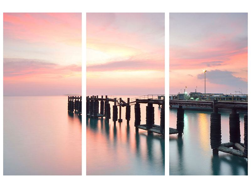 Leinwandbild 3-teilig Der beruhigende Sonnenuntergang