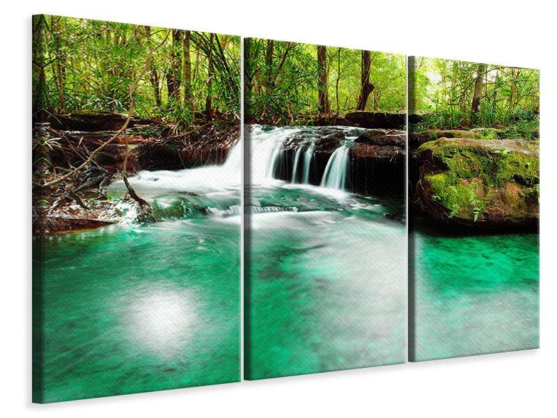 Leinwandbild 3-teilig Der Fluss am Wasserfall