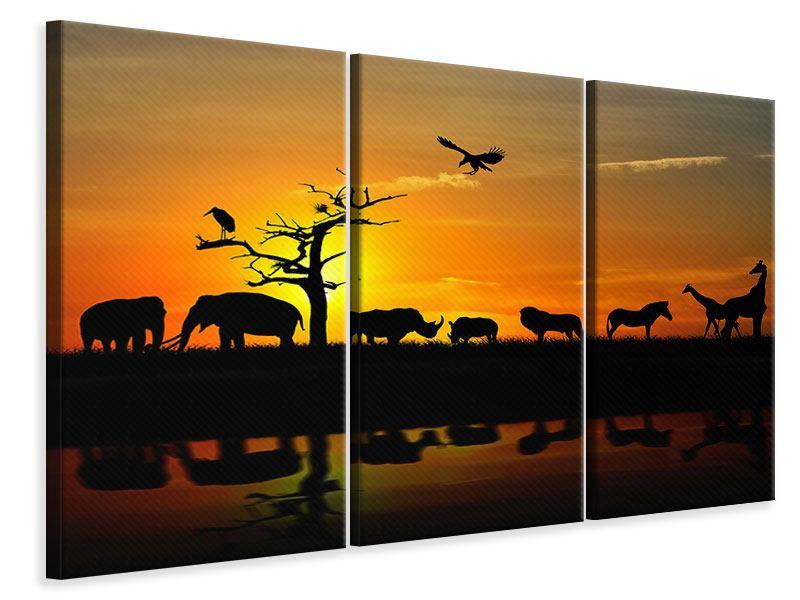 Leinwandbild 3-teilig Safarietiere bei Sonnenuntergang