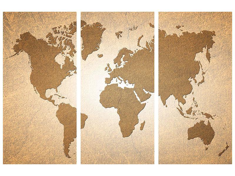 Leinwandbild 3-teilig Karte der Welt in Vintage