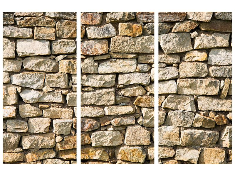 Leinwandbild 3-teilig Natursteine