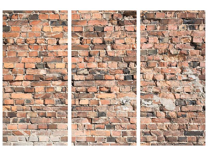 Leinwandbild 3-teilig Alte Backsteinmauer