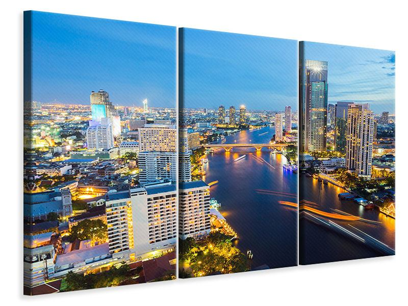 Leinwandbild 3-teilig Skyline Bangkok bei Sonnenuntergang