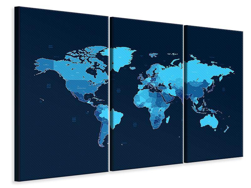 Leinwandbild 3-teilig Weltkarte