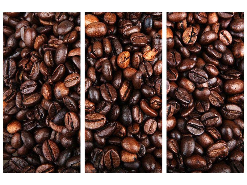 Leinwandbild 3-teilig Kaffeebohnen in XXL