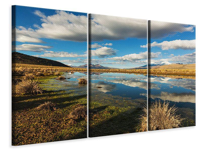 Leinwandbild 3-teilig Wasserspiegelung am See