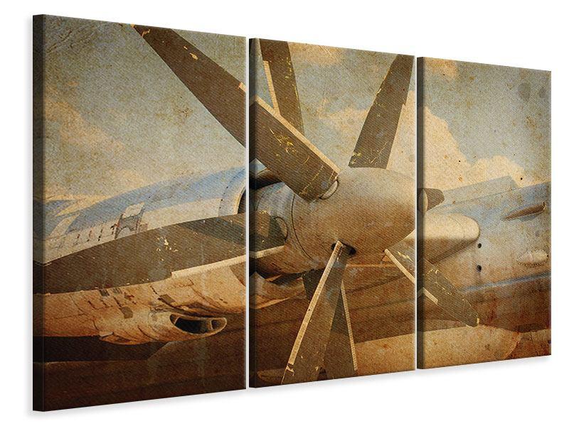 Leinwandbild 3-teilig Propellerflugzeug im Grungestil