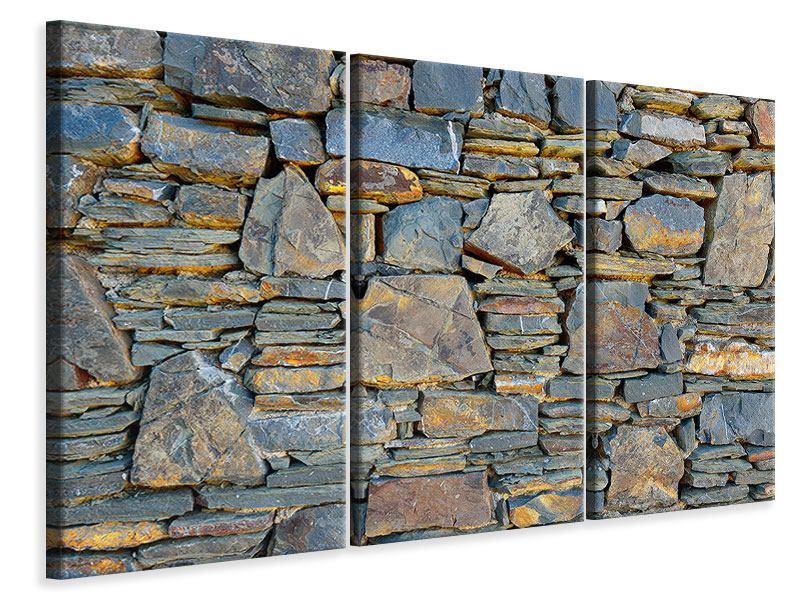 Leinwandbild 3-teilig Natürliche Steinmauer