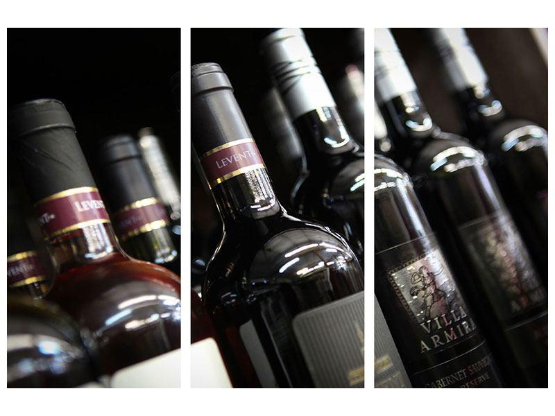 Leinwandbild 3-teilig Flaschenweine