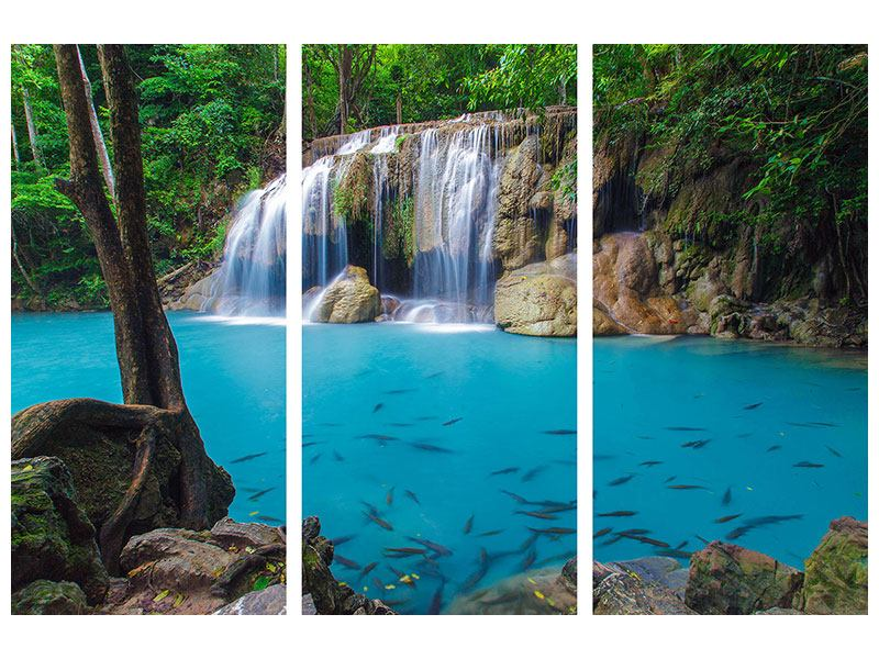 Leinwandbild 3-teilig Naturerlebnis Wasserfall