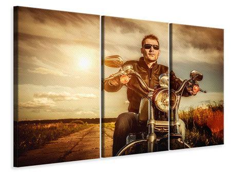 Leinwandbild 3-teilig Der Coole Biker