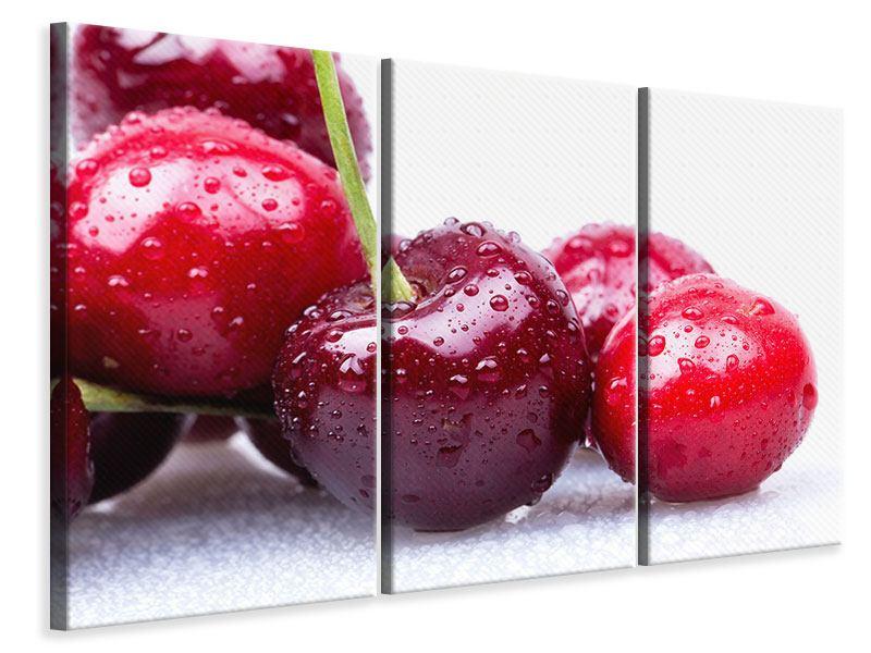 Leinwandbild 3-teilig Kirschen