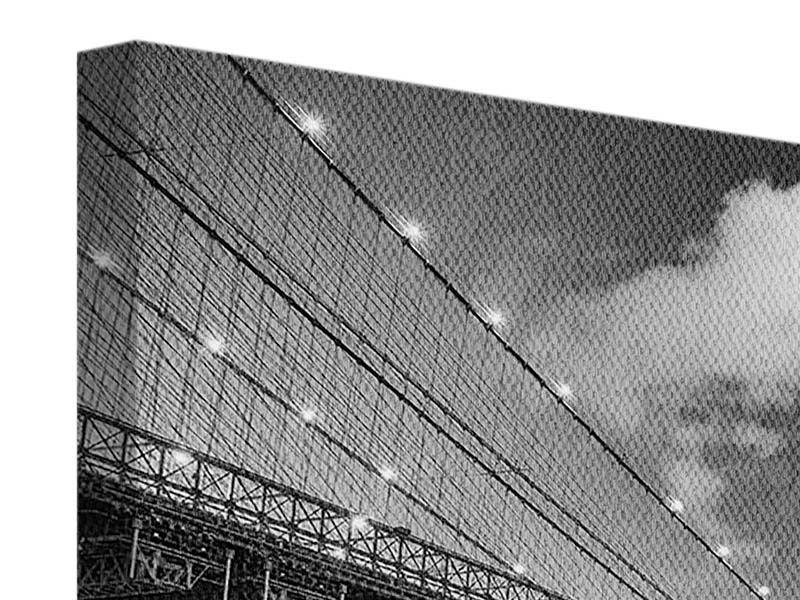Leinwandbild 3-teilig Skyline Schwarzweissfotografie Brooklyn Bridge NY