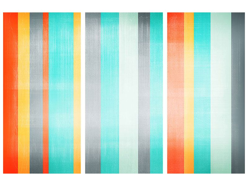 Leinwandbild 3-teilig Grunge Streifen