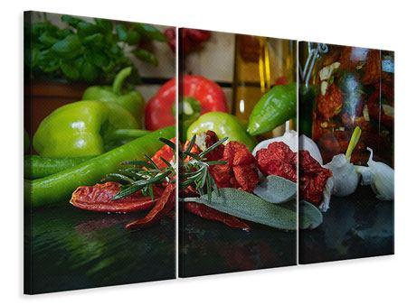 Leinwandbild 3-teilig Mediterranes Gemüse