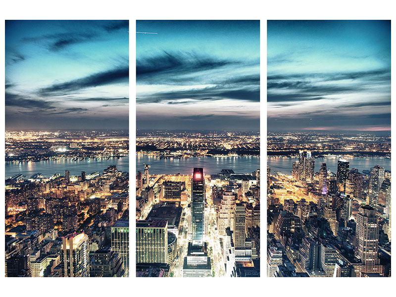 Leinwandbild 3-teilig Skyline Manhattan Citylights