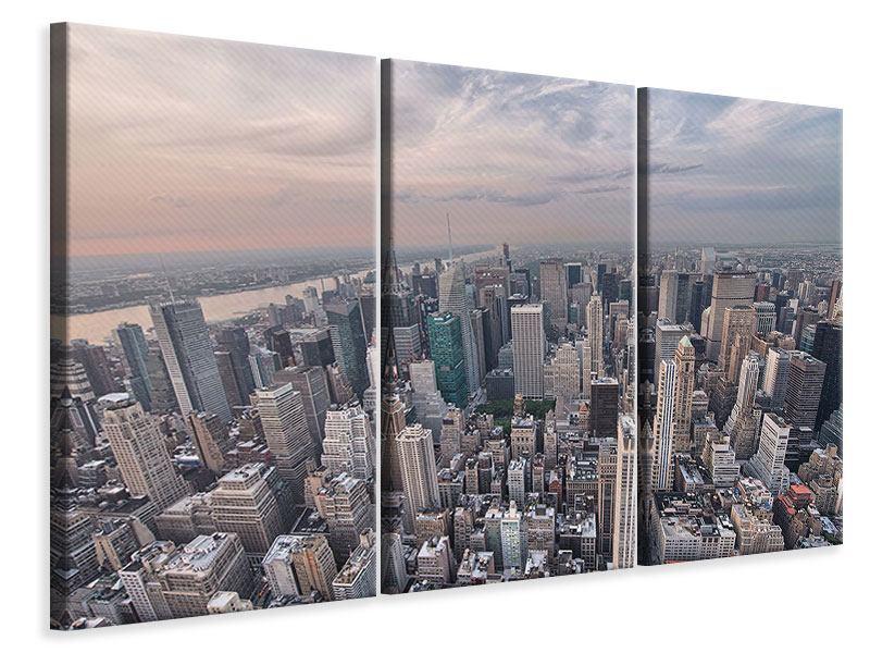 Leinwandbild 3-teilig Skyline Blick über Manhattan