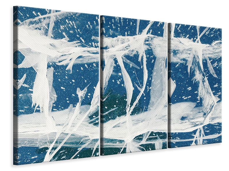 Leinwandbild 3-teilig Eiskristalle