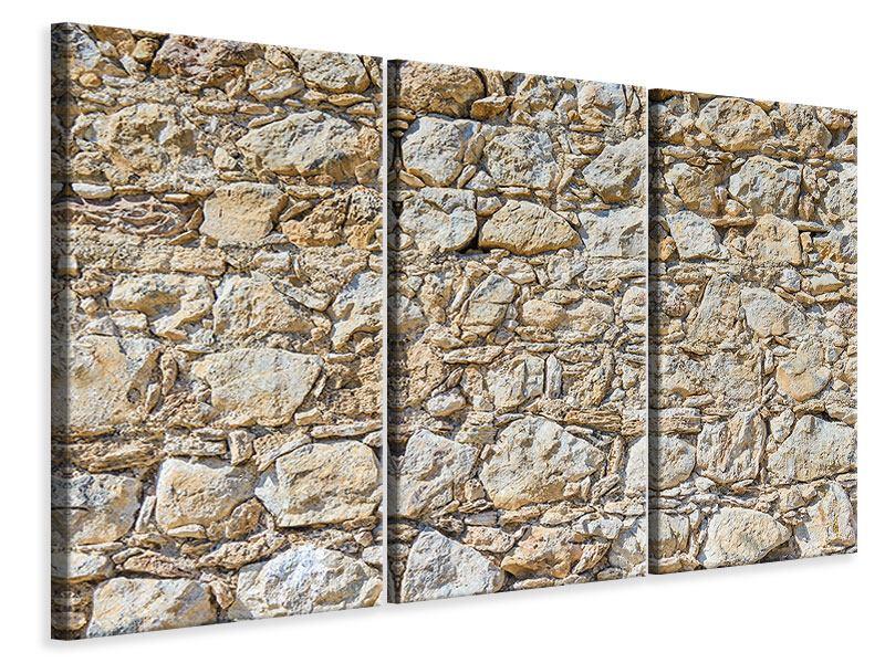 Leinwandbild 3-teilig Sandsteinmauer
