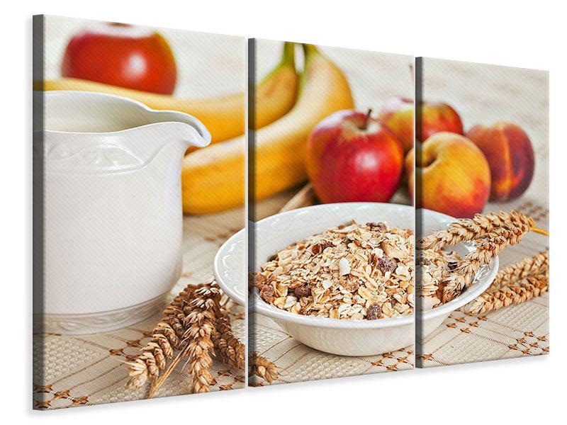 Leinwandbild 3-teilig Frühstück