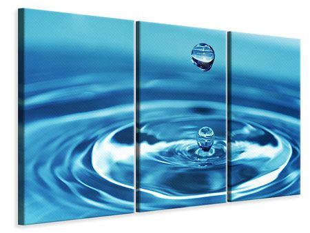 Leinwandbild 3-teilig Der Wassertropfen