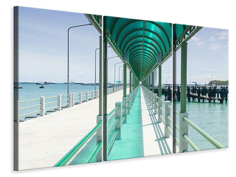 Leinwandbild 3-teilig Die Brücke am Meer