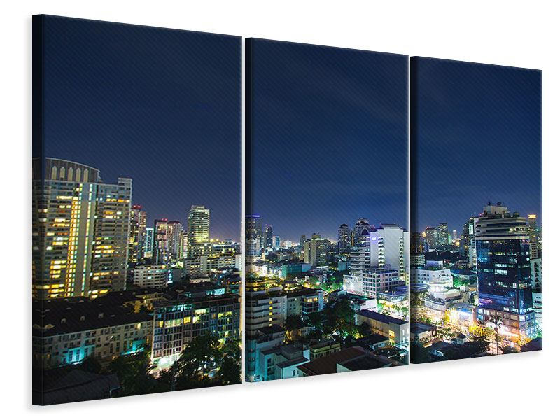 Leinwandbild 3-teilig Skyline Nachts in Bangkok