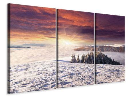 Leinwandbild 3-teilig Sonnenaufgang Winterlandschaft