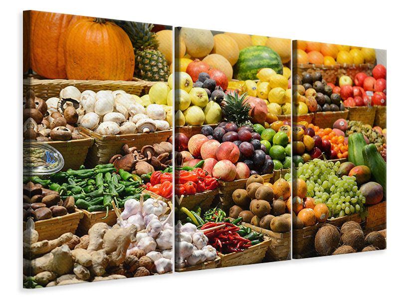 Leinwandbild 3-teilig Obstmarkt