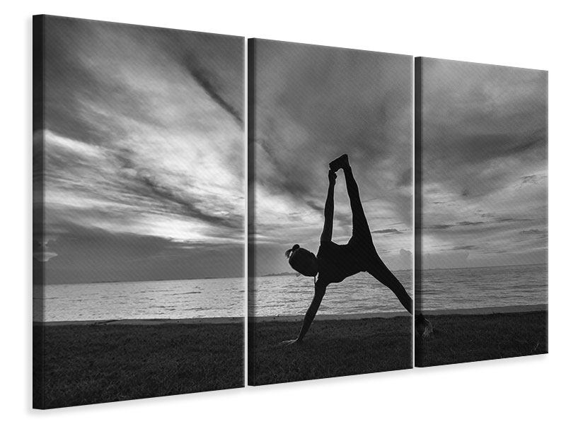 Leinwandbild 3-teilig Yoga am Strand
