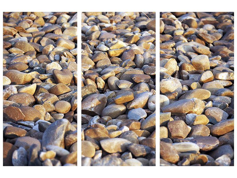 Leinwandbild 3-teilig Strandsteine