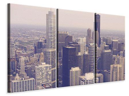 Leinwandbild 3-teilig Skyline Chicago in Sepia