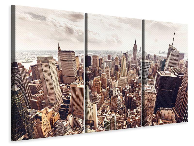 Leinwandbild 3-teilig Skyline Über den Dächern Manhattans