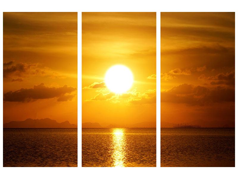 Leinwandbild 3-teilig Sonnenuntergang See