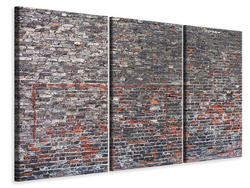 Leinwandbild 3-teilig Alte Backsteine