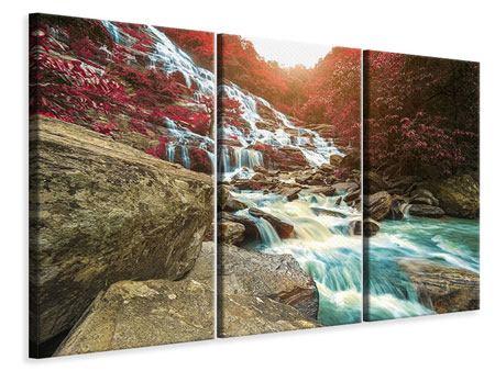Leinwandbild 3-teilig Exotischer Wasserfall