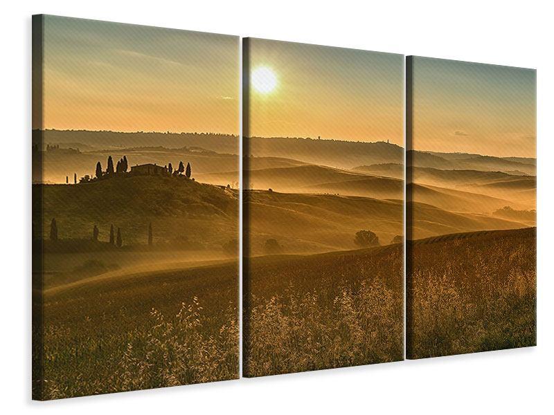 Leinwandbild 3-teilig Sonnenuntergang im Gebirge