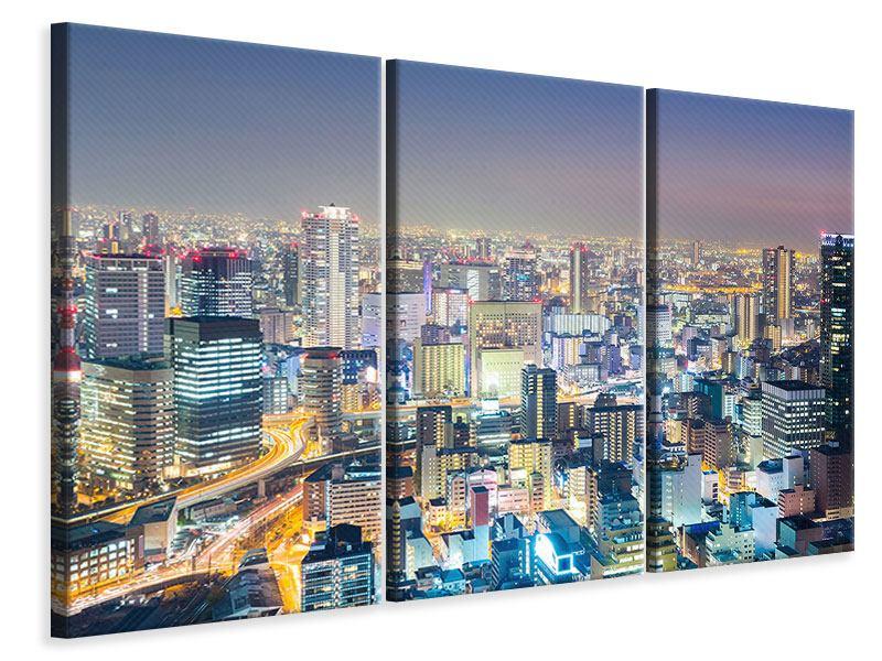 Leinwandbild 3-teilig Skyline Osaka bei Sonnenuntergang