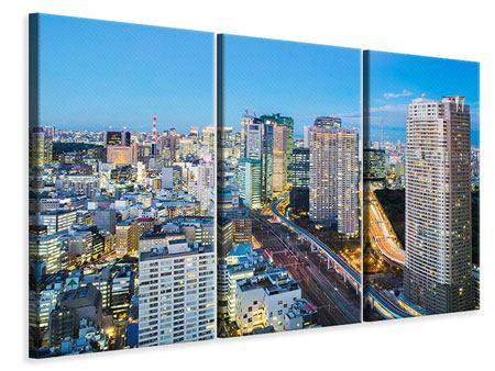 Leinwandbild 3-teilig Skyline Tokio im Lichtermeer