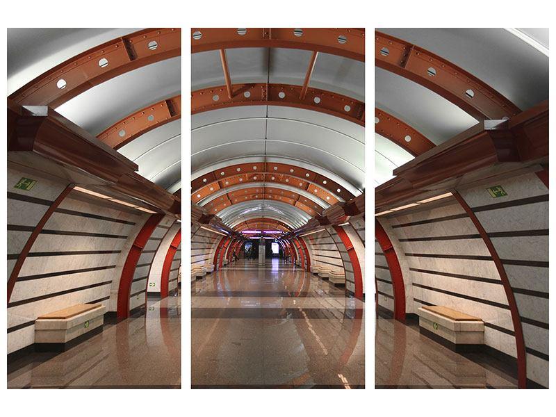 Leinwandbild 3-teilig U-Bahn Station