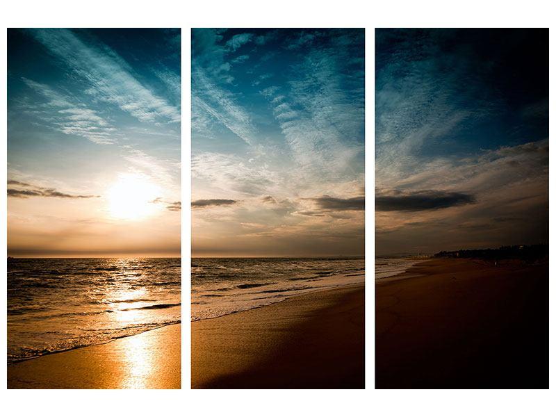 Leinwandbild 3-teilig Strandspaziergang