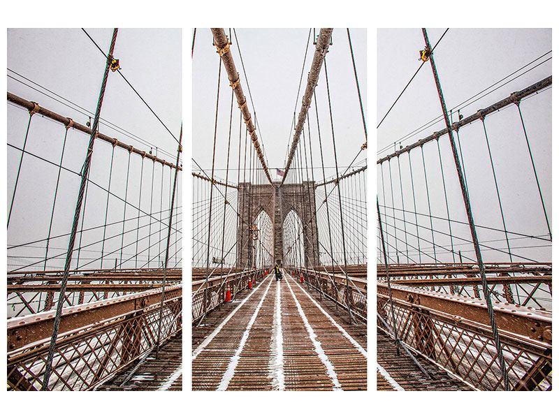 Leinwandbild 3-teilig Auf der Brooklyn Bridge