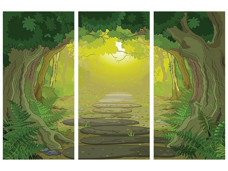 Leinwandbild 3-teilig Der Märchenwald