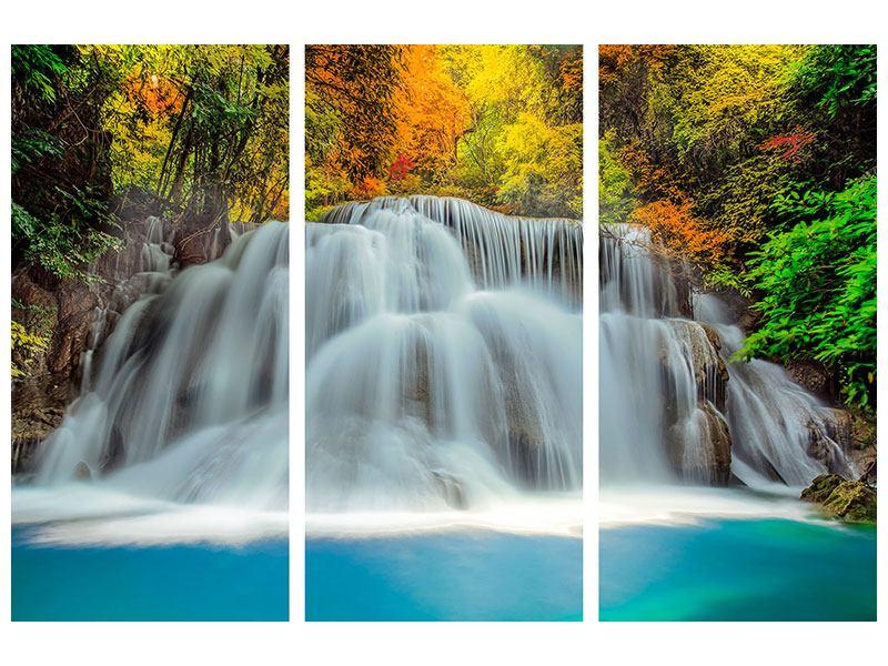 Leinwandbild 3-teilig Fallendes Gewässer
