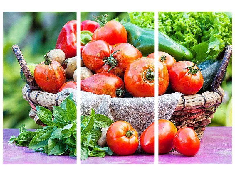Leinwandbild 3-teilig Gemüsekorb