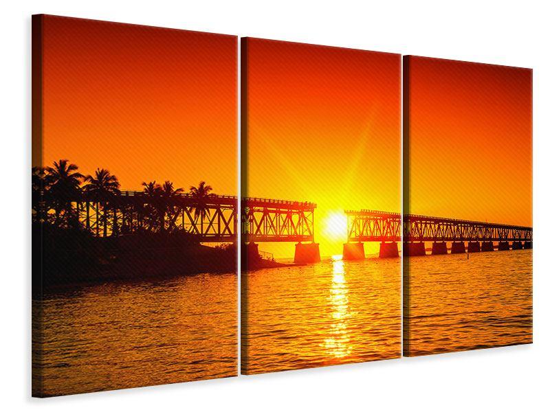Leinwandbild 3-teilig Sonnenuntergang an der Brücke