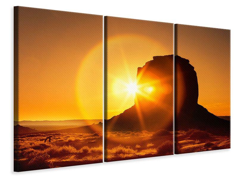 Leinwandbild 3-teilig Sonnenuntergang Monument Valley