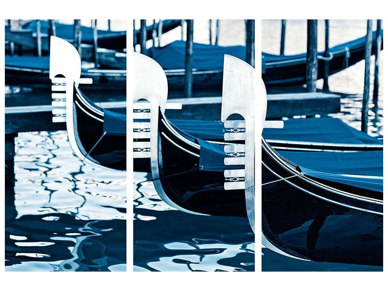 Leinwandbild 3-teilig Gondeln in Venedig