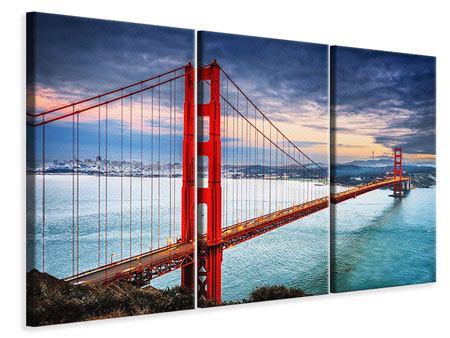 Leinwandbild 3-teilig Der Golden Gate Bridge bei Sonnenuntergang