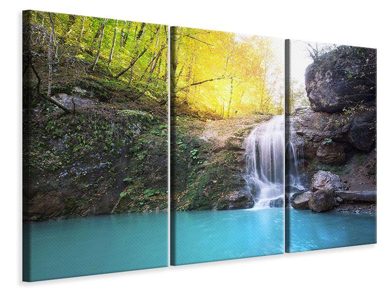 Leinwandbild 3-teilig Fliessender Wasserfall